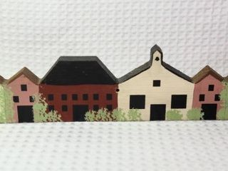 Wooden Village Wall Hanging