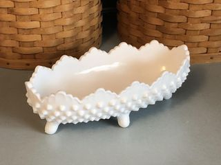 Fenton Milk Glass Hobnail 4-Toed Pickle Dish