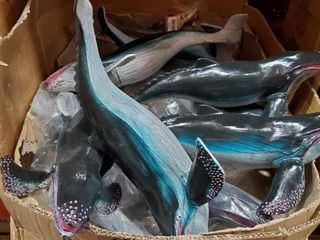 "18"" Whales as photographed. One bid buys the lot!"