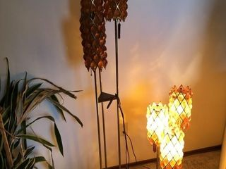 Floor Lamp and matching table lamp, amber glass