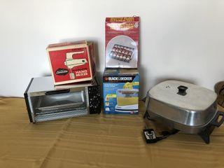 Sunbeam hand mixer, toaster oven, juicer, shish