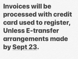 Credit Card/E-transfer/Certified Cheque