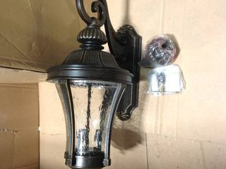 Nottington Collection 3-Nottington Collection 3-Light 26 in. Outdoor Forged Bronze Wall Lantern Sconce in good condition