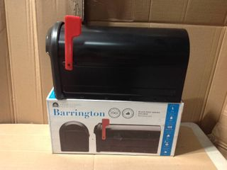 Architectural Mailboxes Barrington Post Mount Mailbox Black with Red Flag in good condition