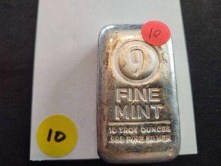 Ten Ounce .999 Fine Mint Silver Bar