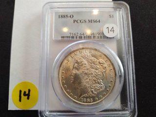 1885-O Morgan Dollar PCGS MS64