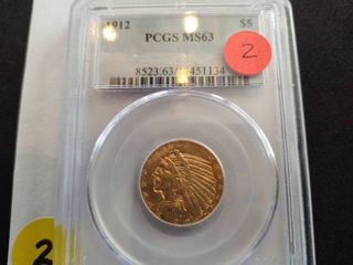 1912 $5.00 Gold Indian Head Coin PCGS MS63