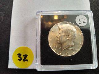 1964 BU 90% Silver Kennedy Half Dollar