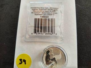 2015 Canada $20.00 Superman .9999 Silver Coin