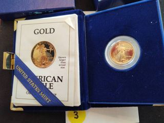 1991 American Eagle Proof 1/4 Ounce Gold Bullion Coin in Orig. Mint Holder with COA