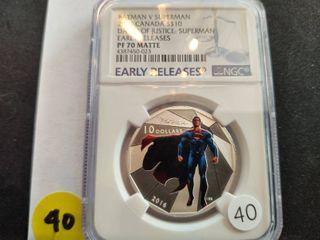 2016 Canada $10.00 Batman v. Superman Proof Coin NGC PF70 Matte