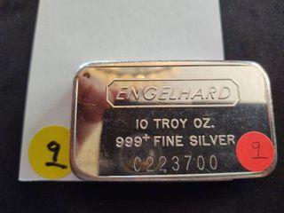 Ten Ounce .999+ Engelhard Silver Bar Serial # C223700