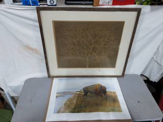 Framed Tumble Weed Print Signed By Artist 31x27 (Frame Needs Repair)
