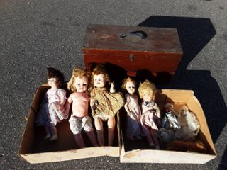 Wood Chest On Casters 27x11x15 & Creepy Old Baby Dolls