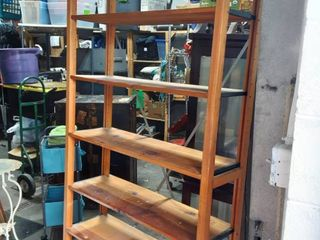 Vintage Knotty Pine Adjustable Shelf Unit 38x12x74