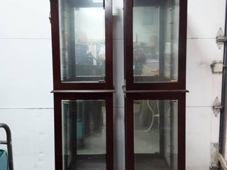 Pair Of Lighted Glass Door Curio/Display Cabinets 17x15x71