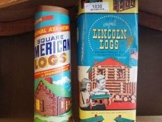 Lincoln Logs in Container - Vintage
