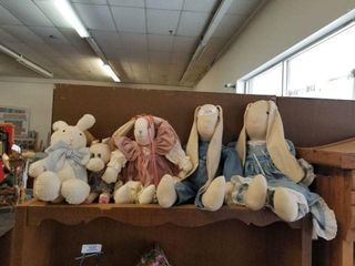 Collectible Rabbits on Top Shelf