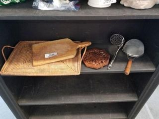Carved Trivet Wooden Cutting Board & Other Items