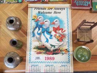 Pottery Items, Calendar & Wooden Chair