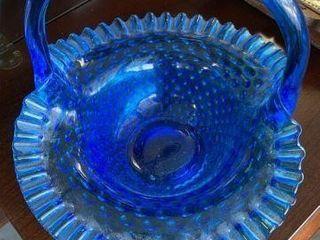 Large Blue Hobnail Fenton Basket