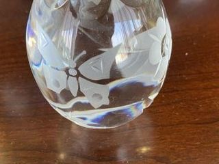 Large Etched Crystal Paperweight