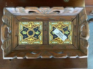 Wood Tray w/ Hand Painted Tiles