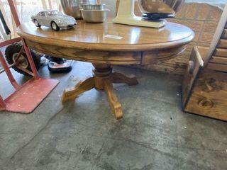 Solid Oak Pedestal Cocktail Table