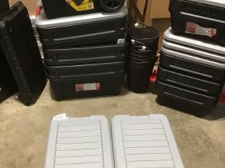 PALLET WITH ASSORTED TOOLBOX/STORAGE BINS AND PLASTIC CONTAINERS! SEE PICS!