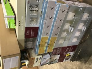 PALLET WITH ASSORTED LIGHTING/ LIGHTS! CEILING FANS HOME DECOR COLLECTION & HAMPTON BAY BRANDS! SEE PICS!