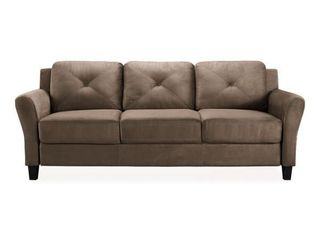 LIFESTYLE SOLUTIONS Harvard 31.5 in. Brown Microfiber 4-Seater Tuxedo Sofa with Round Arms! SEE PICS!