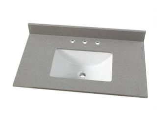 HOME DECOR COLLECTION 37 in. W x 22 in. D Engineered Quartz Vanity Top in Sterling Grey with White Single Trough Sink! SEE PICS!