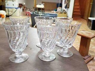 lot of 6 Clear Parfait Glasses   3 5  x 5 5  T