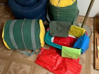 lot of Sleeping Bags   Other Plastic Items