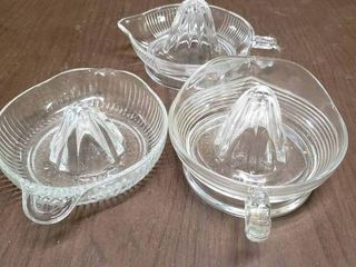 lot of 3 Clear Glass Juicers   8  x 1 5  to 2 5  T