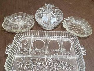 lot of 4 Relish Trays   Biggest Tray   9  x 13