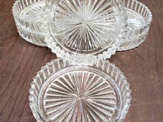lot of 6 Crystal Glass Coasters   3 5  Wide