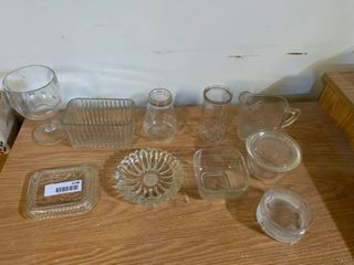 lot of 10 Glass Items   Syrup Dispenser   5  Tall