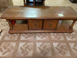 long Brown Coffee Table With Storage Drawers   56  x 20  x 16  T   Some Scratches