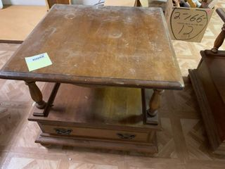 Brown End Table With Drawers   24  x 24  x 21  T   Some Wear   Matches lot 1168