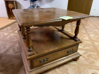 Brown End Table With Drawers   24  x 24  x 21  T   Some Wear   Matches lot 1158