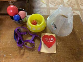 Plastic Yellow Dog Bowl  3 Small Dog Collars    A Small Dog Harness