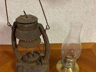 lot of 2 Metal Brass Kerosene lanterns