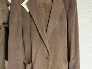 Mens Brown Corduroy Suit   Brown Overcoat   Size Unknown