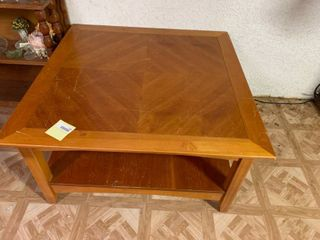 light Brown Square Coffee Table   28  x 38  x 20  T   Some Scratches