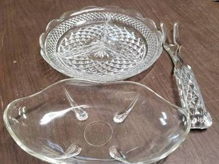 lot of 3 Crystal Items   Candy Dish  Serving Platter    Fork