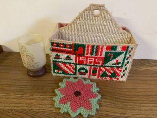 Cotton 1985 Christmas Crewel Basket  Yarn Coaster  and Candle Holder