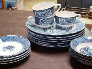 Currier Ives Blue   White Setting   7 large Plates  4 Small Plates  4 Small Bowls    3 Coffee Cups