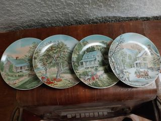 lot of 4 Currier Ives Collector Plates   Homestead in Winter  Farmers Home  Winter  Home in the Wilderness  Old Homestead in Winter   7 5  Diameter