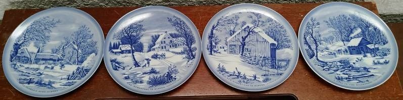 lot of 4 Currier Ives Collector Plate   Spring  Summer  Autumn  Winter   6 5  Diameter